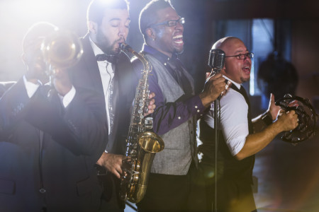A jazz band performing at a nightclub.